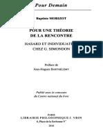 Baptiste Morizot Pour Une Theorie de La Rencontre Hasard Et Individuation Chez Gilbert Simondon