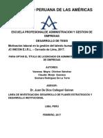 Motivación Laboral en La Gestión Del Talento Humano de La Empresa Jc Inicon e.i.r.l. – Cercado de Lima, 2017