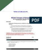 Principles of Marketing - MGT301 Fall 2004 Mid Term Paper