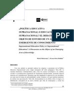 Política Educativa Supranacional o Educación Supranacional