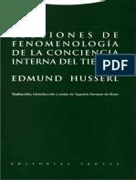 Edmund Husserl-Lecciones de fenomenología de la conciencia interna del tiempo.