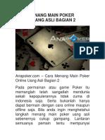 Cara Menang Main Poker Online Uang Asli Bagian 2