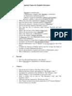English Literature Topics