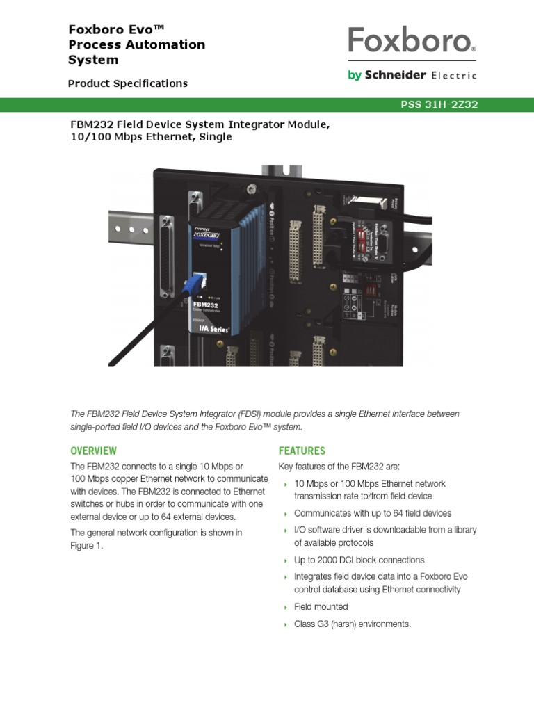 Foxboro Evo Process Automation System pdf | Network Switch | Ethernet
