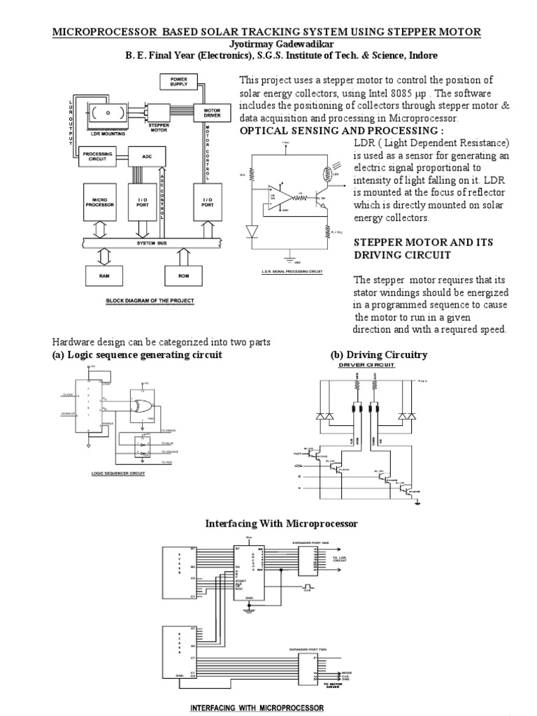 Microprocessor Amplifier Bipolar Junction Transistor Solar Tracker Circuit Diagram