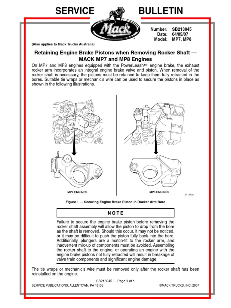 Retaining Engine Brake Pistons