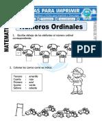 Ficha de Numeros Ordinales Para Primero de Primaria