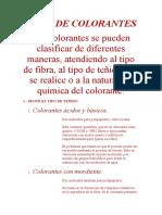 TIPOS DE COLORANTES