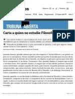 Cuervo Pollán, Ana (2016) Carta a Quien No Estudie Filosofía en Bachillerato | El Diario