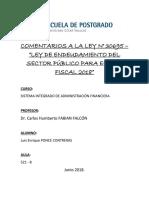 COMENTARIOS A LA LEY N° 30695 - LEY DE ENDEUDAMIENTO DEL SECTOR PUBLICO PARA EL AÑO FISCAL 2018