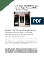 Jual Titan Gel Di Sinjai 082285956555 Agen Cream Titan Gel Sinjai Pesan ANTAR Titan Gel Sinjai
