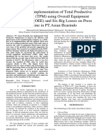 Analysis and Implementation of Total Productive Maintenance (TPM) using Overall Equipment Effectiveness (OEE) and Six Big Losses on Press Machine in PT.Asian Bearindo