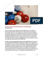 Most Important Audit Questions for ISO 9001 2015