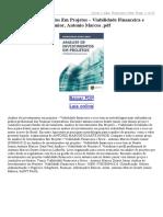 Análise de Investimentos Em Projetos – Viabilidade Financeira e Risco