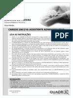 Quadrix 2012 Crp 9 Regiao Go e to Assistente Administrativo Prova