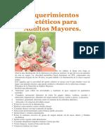 Requerimientos Dietéticos Para Adultos Mayores