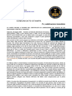 2018-06-20 ITALIAN PRESS RELEASE - UN SWISSINDO DEBT BURDEN LIBERATION CERTIFICATE WINS COURT FAVOUR OVER BANKS!