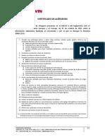 Ejemplo Certificado de Alergenos