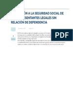 Afiliacdion a La Seguridad Social de Los Representantes Legales