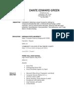 dante green resume
