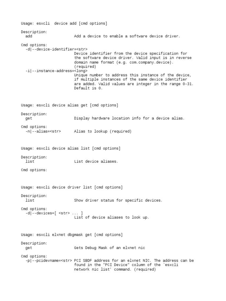 ESXcli Command Reference 6 | I Pv6 | Ip Address