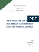 Aportes Del Conocimiento de Las Formas de Transferencia de Calor a La Ingeniería Mecánica