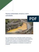 Pasivos Ambientales Mineros y Otras Actividades