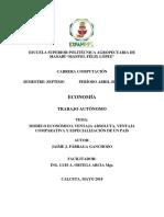Modelo Económico, Ventaja Absoluta, Ventaja Comparativa y Especialización de Un Pais
