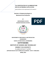 Experimental Investigation of Aluminium Foam in Automobile Application