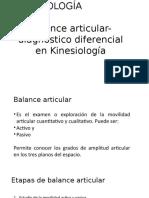 Balance Articular- Diagnóstico Diferencial en Kinesiología