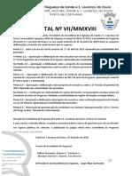 EDITAL Nº VII/MMXVIII - Deliberações da Assembleia de Freguesia de 15/06/2018