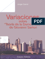 Libro. Variaciones Sobre Teoría de La Democracia de Giovanni Sartori. Jorge Carrol