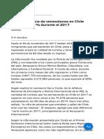 La Permanencia de Venezolanos en Chile Creció Un 111% Durante El 2017-1