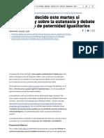 Últimas Noticias Sobre Ley de La Eutanasia y Permisos de Paternidad Igualitarios _ Directo