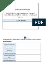 Formulario de Postulacion Concurso XXII Eje Valoracion Vfc 07-06-2018