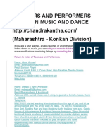 Teachers and Performers of Indian Music and Dance Maha