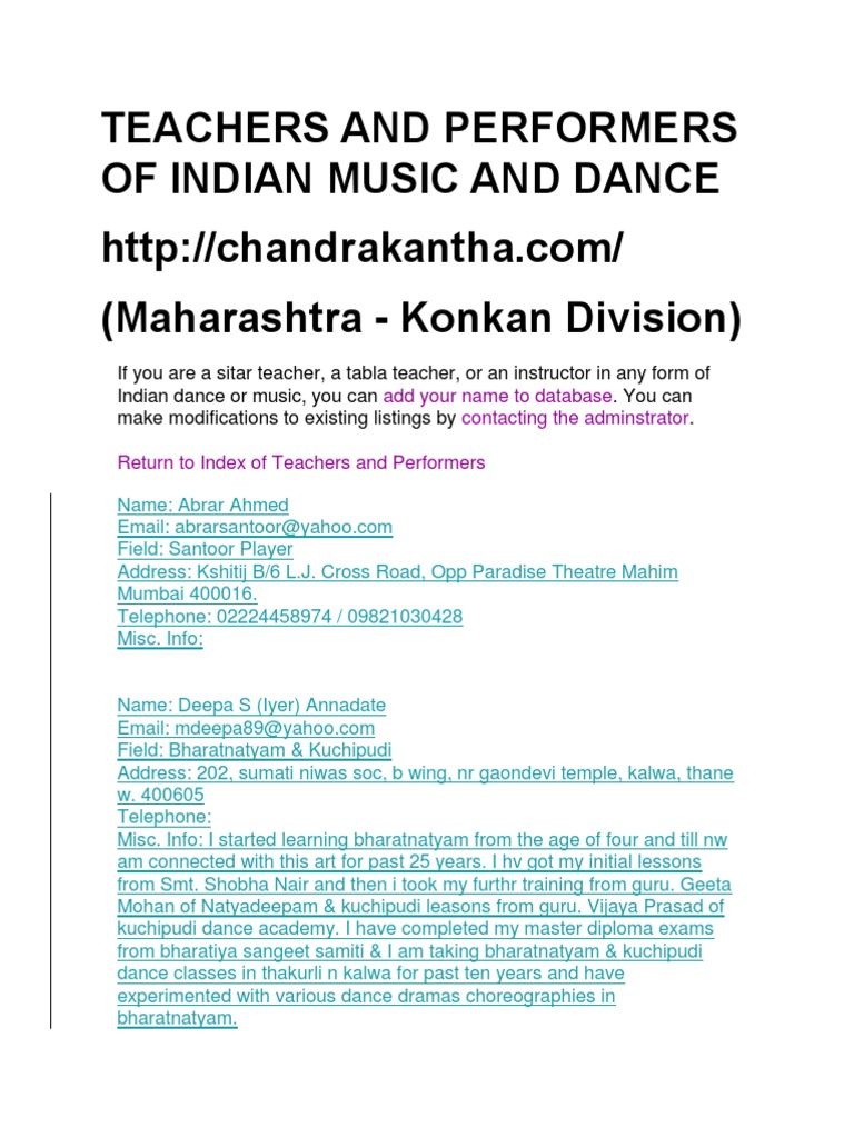 teachers and performers of indian music and dance maha performing