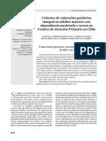 Criterios de valoración geriátrica integral en adultos mayores con dependencia moderada y severa en Centros de Atención Primaria en Chile