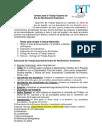 Lineamientos Para El Trabajo Especial de Índice de Rendimiento Académico