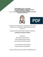 El Principio de Oralidad en El Anteproyecto Del Codigo Procesal Civil y Mercantil Con Enfasis en Juicio Ejecutivo