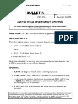 Boletin de Servicio Nissan ABS Well Sensor pdf | Anti Lock