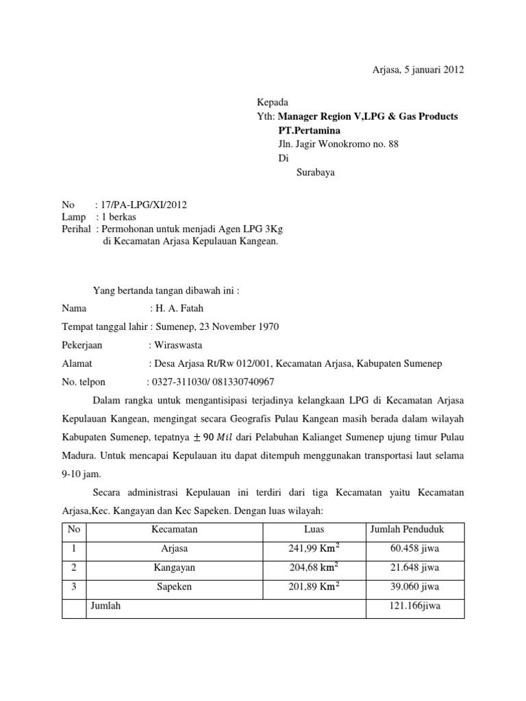 Contoh Surat Permohonan Jadi Agen Gas Elpiji Contoh Lif Co Id