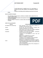 Template 25 - Updated Internal Audit Finding Sheets - Roll-out