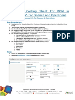 Setting Up Costing Sheet for BOM in DYNAMICS 365 for Finance and Operations