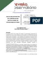 HACIA UNA DEFINICIÓN DE COMUNICACIÓN INSTITUCIONAL EN SITUACIONES DE CRISIS