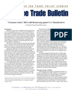 """Consumer Safety"" Bill Could Boomerang against U.S. Manufacturers, Cato Free Trade Bulletin No. 42"
