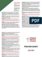 Prayer Diary July 2018