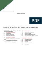 clasificacion de los yacimientos de minerales