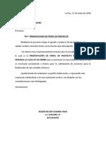 Carta de Presentacion de Perfil de Proyecto