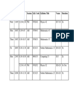 A2 Timetable